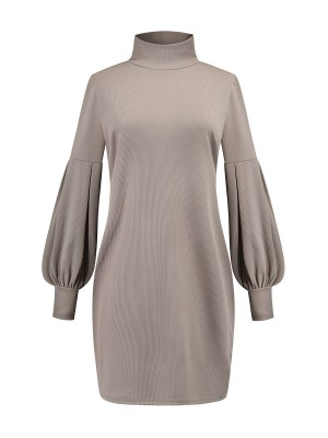 Ultra Fresh Gray Mini Length High Collar Sweater Dress High Elasticity