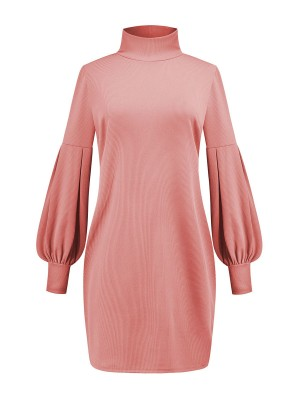Slender Pink High Neck Solid Color Sweater Dress Outfits