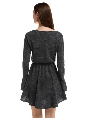Amazing Black Bell Sleeve Sweater Dress Fitted Waist Breathable