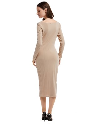 Flowing Apricot V Collar Button Sweater Dress On-Trend Fashion