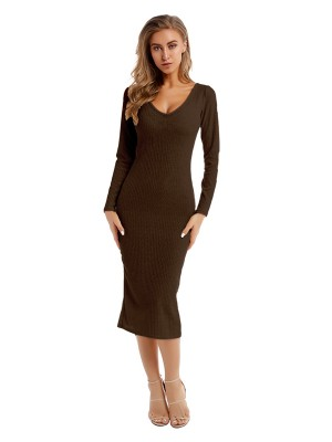 Demure Coffee Color Sweater Dress Solid Color Knit On-Trend Fashion