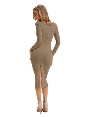Comfort Light Coffee Color Plunge Neck Slit Sweater Dress