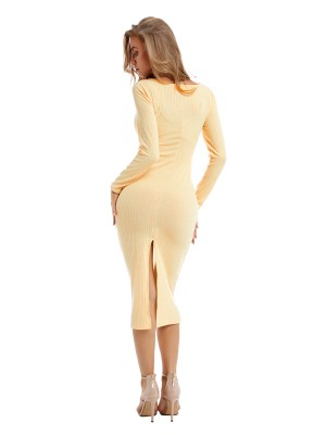 Refresh Off-White Plunge Collar Sweater Dress Slit Leisure Wear
