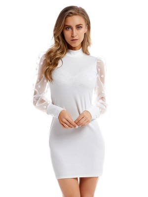 Naughty White Mesh Stitching Knitted Sweater Dress Slim Fit