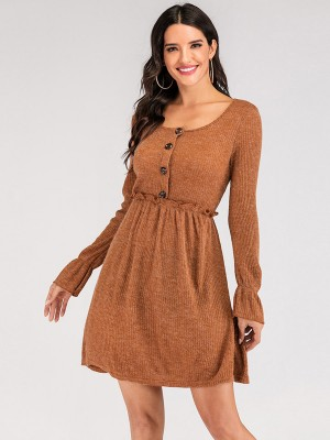 Ultra Fresh Ruffled Sweater Dress Long-Sleeved Supper Fashion