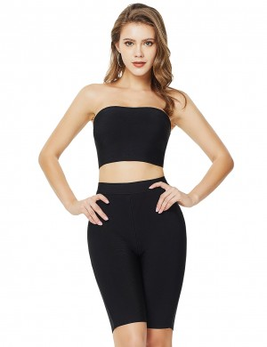 Incredible Black Bandeau Zipper Back Cropped Suit High Rise