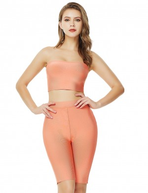 Orange High Waist Zipper Cropped Suit Bandeau Contouring Sensation