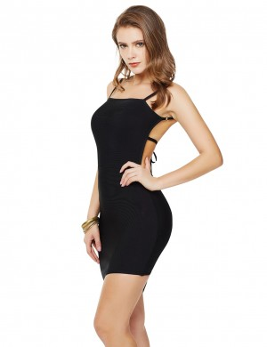 Black Slender Straps Asymmetrical Hem Bandage Dress Form Fitting