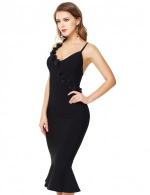 Black Three Dimensional Flower Fishtail Bandage Dress Wedding Trip