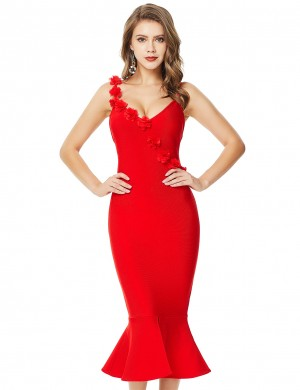 Splendid Red Slit Three Dimensional Flower Bandage Dress Zip Womens