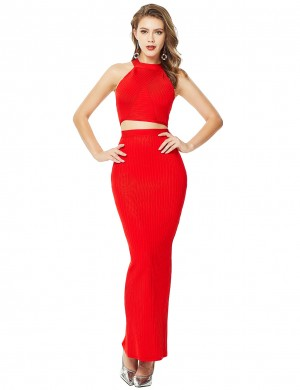 Figure-Hugging Halter Red I-Shape Back Slit Skirt Set On-Trend Fashion