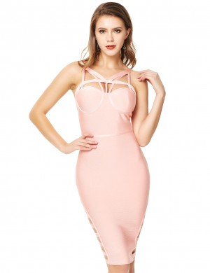 Exquisite Strappy Light Pink Cut Out Bandage Dress Backless Zip For Stunner