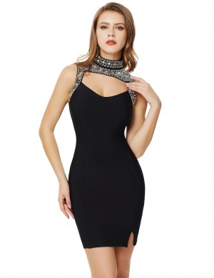 Black Rhinestone High Neck Cut Out Bandage Dress Hook Luscious Curvy
