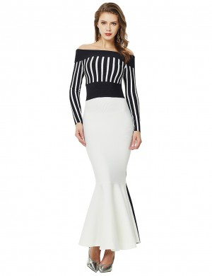 Sleek Off Shoulder Stripe Fishtail Ribbed Bandage Dress Visual Effect