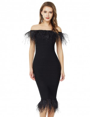 Black Flat Shoulder Feather Trim Bandage Dress Online Fashion
