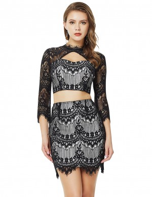 Excellent Lace Eyelash Black Hollow Bandage Skirt Set Cropped For Woman