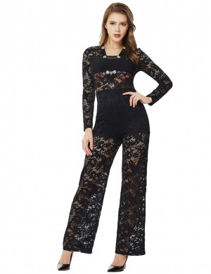 Black Metal Lace Patchwork Perspective Jumpsuit Zip Unique Fashion