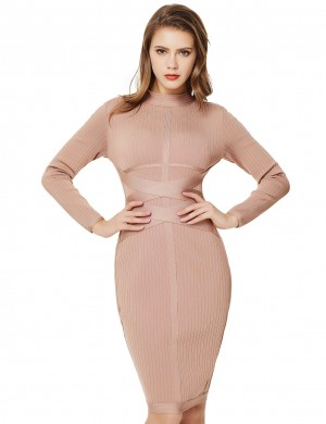 Khaki Rib Long Sleeve Stand Neck Cross Bandage Dress Feminine Confidence