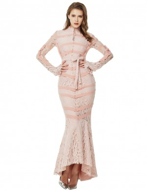 Remarkable Fishtail Apricot Waist Belt Lace Bandage Dress Buttons Pullover
