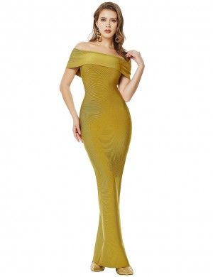 Green Split Cape Off Shoulder Bandage Dress Maxi Length Fashion Forward