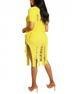 Yellow Slit Side Plain Lace Up Skirt Suit Shred Fashion Comfort