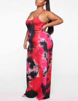 Pleasurable Tie Dye Sling Backless Big Size Maxi Dress Outfit