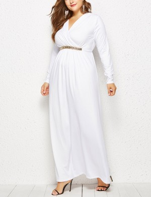 Smooth White V-Neck Large Size Waist Belt Dress Feminine Elegance