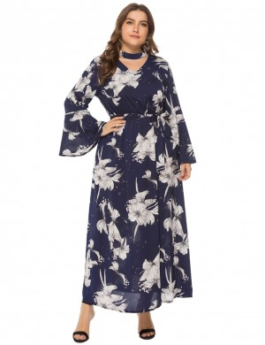 Glam Navy Blue Floral Print V-Neck Tie Waist Plus Size Dress