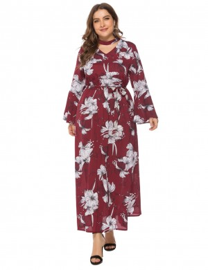 Beautifull Wine Red Floral Pattern Bell Sleeve Plus Size Dress