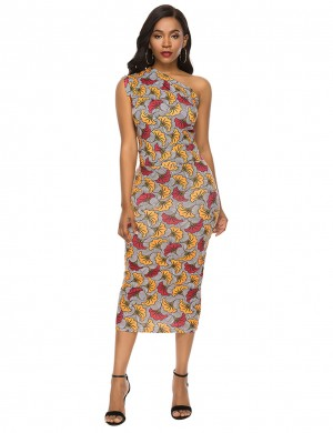 Eye Catcher Brushed Sloping Shoulder Bodycon Dress Print On-Trend