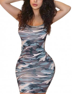 Versatile Fit Green Slender Strap Square Neck Camouflage Bodycon Dress Ideal Choice