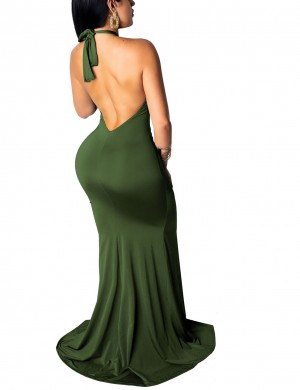 Army Green Irregular Hem Halter Evening Dress Split Feminine Confidence