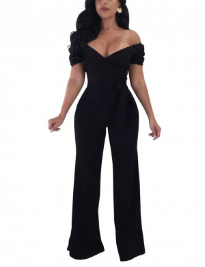 Off Shoulder Black Jumpsuits Wide Legs Waist Tie High Elasticity