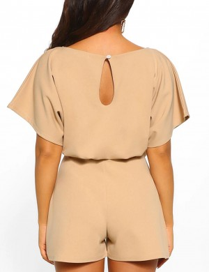 Surprising Khaki Short Length Belted Jumpsuits Solid Color For Women