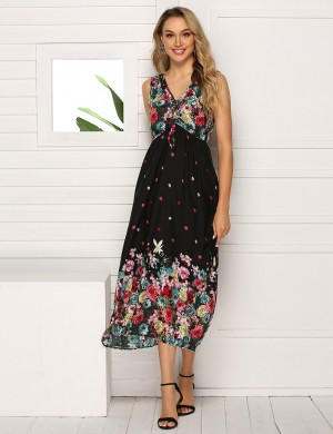 Favorite V Neck Sleeveless Floral Big Size Midi Dress Natural Outfit