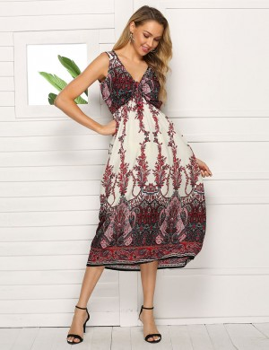 Fabulous Big Size Print Tie Front V Neck Midi Dress For Lover