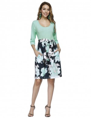 Light Green Round Collar Floral Midi Dress Stitching Elastic Material