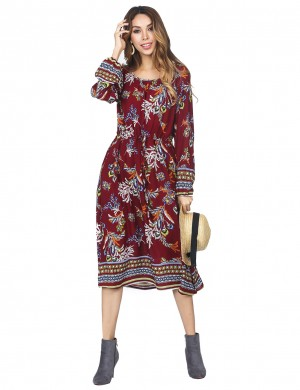 Shimmer Flared Long Sleeves Dress With Pocket Wine Red Luscious Curvy