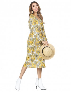 Loose Fit Bell Sleeved Yellow Long Dress Flower Pattern Outdoor
