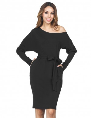 Leisure Black One Shoulder Dress Button With Pocket Trend For Women