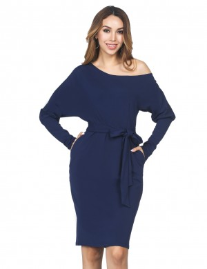 Brightly Navy Blue Long Sleeves Tie Slanted Shoulder Dress Romance