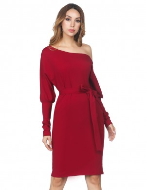 Ultra Fresh Puff Sleeve Wine Red Dress Sash Shoulder Buckle For Vacation