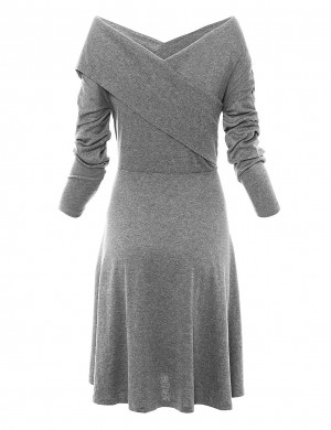Excellent Grey Solid Color Long Sleeves Flared Dress Fashion Insider