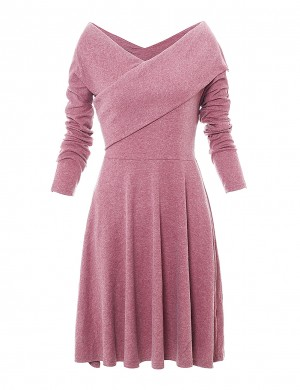 Striking Pink V Collar Criss Cross A-Line Dress Plain Ladies Elegance