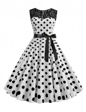 Classic Hepburn Crew Neck Polka Dot Skater Dress Lace For Walking