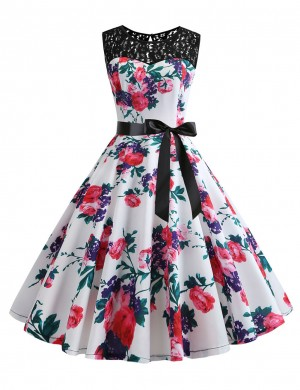 Slim Flower Sleeveless Tie Hollow Back Skater Dress Breathable