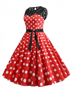 Fairy Dot Lace Round Neck Hollow Zipper Skater Dress Unique Fashion