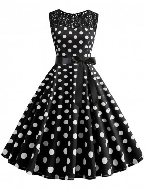 Unique Polka Dot Zip Crew Neck Bow Tie Skater Dress Lace All-Match