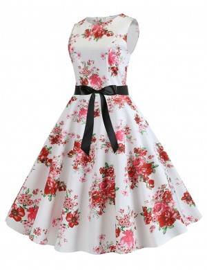 Bow Tie Hepburn Flare Hem Flower Skater Dress Feminine Fashion