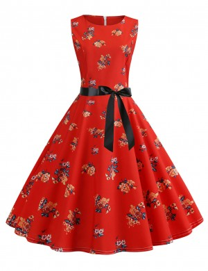 Refined Waist Tie Zip Flare Hem Floral Skater Dress Sexy Ladies